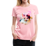 Women's Cat Yellow Splatter Premium T-Shirt - pink
