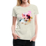 Women's Cat Yellow Splatter Premium T-Shirt - heather oatmeal