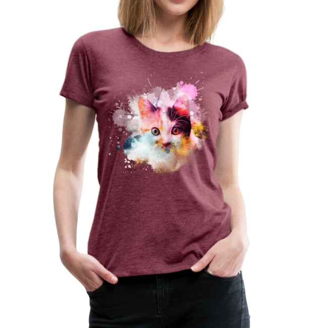 Women's Cat Yellow Splatter Premium T-Shirt - heather burgundy