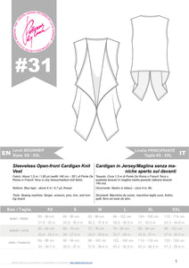 Digital Sewing Pattern N.31 - Sleeveless Open-front Cardigan Knit Vest
