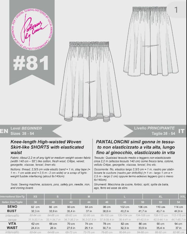 Digital Sewing Pattern N.81 - Woven Skirt-like SHORTS