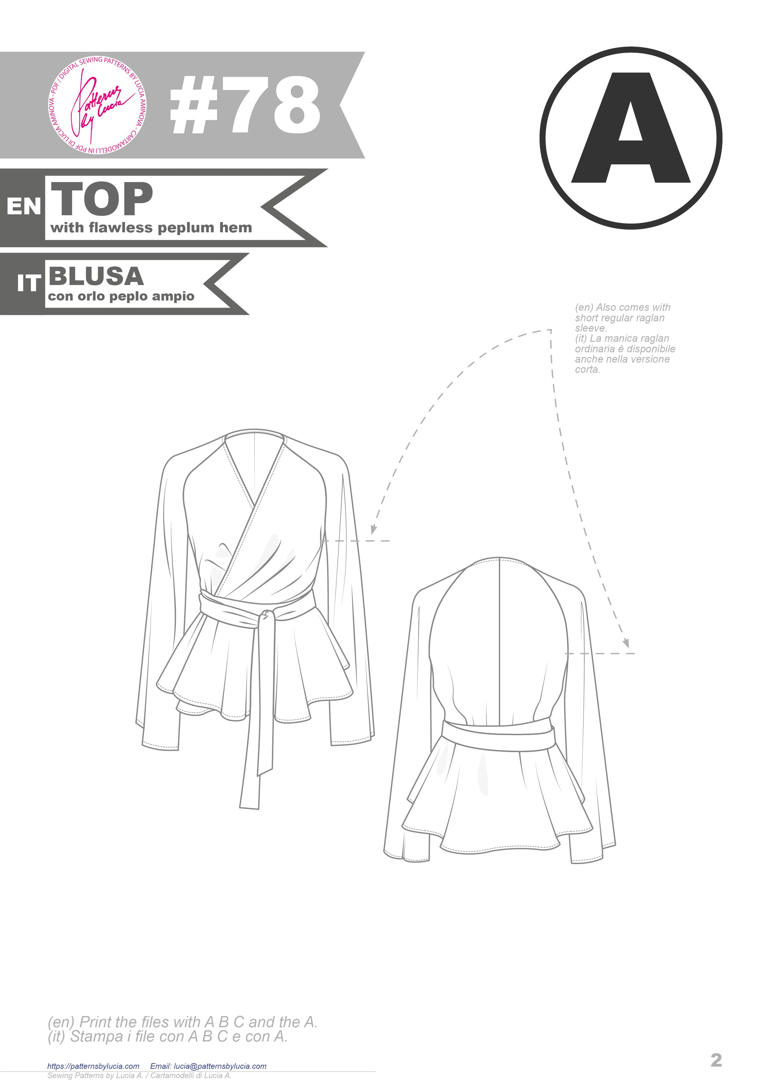 Digital Sewing Pattern N.78 - Woven Wrap Blouse or Dress