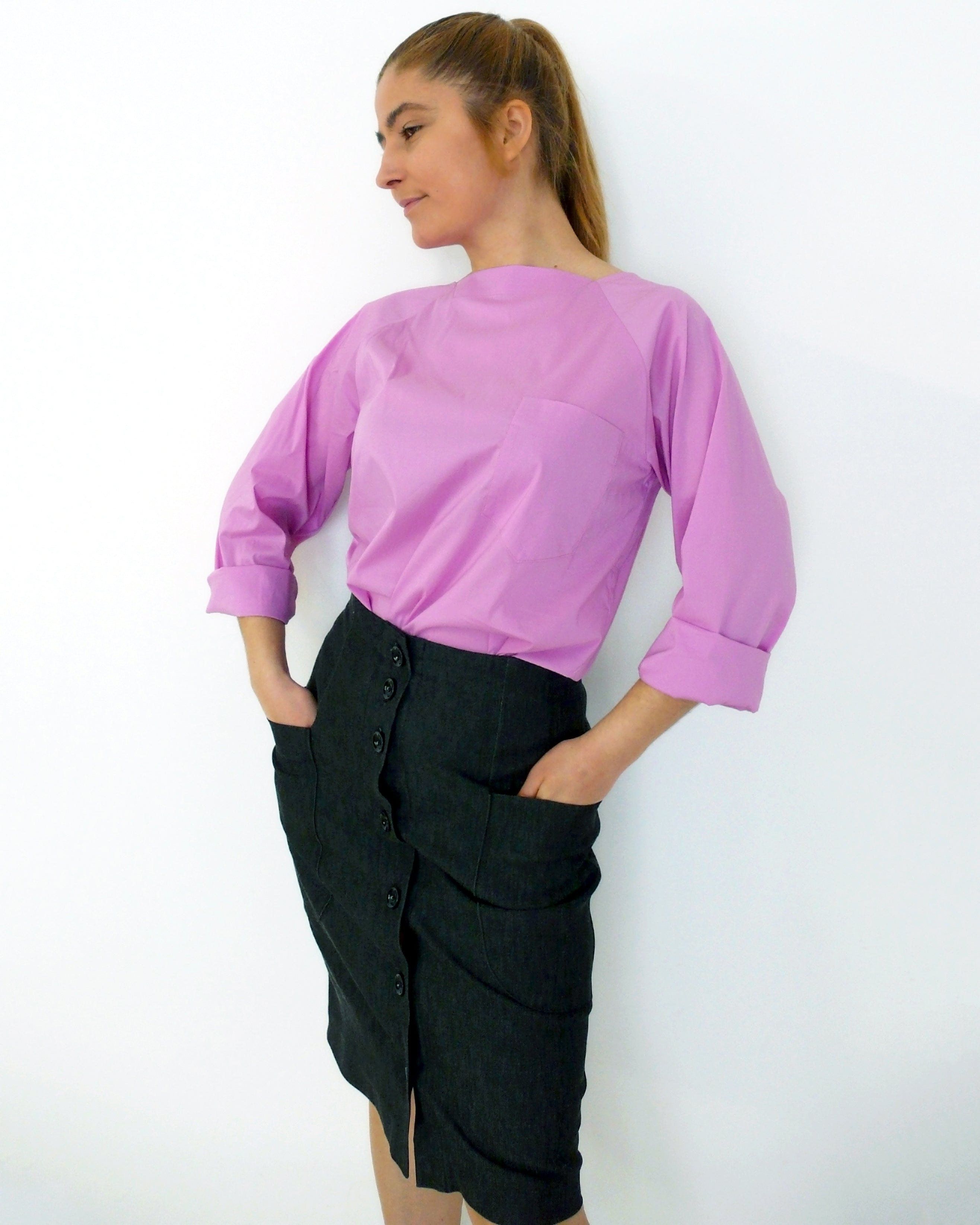 woven blouse with pocket squared neckline and raglan sleeve