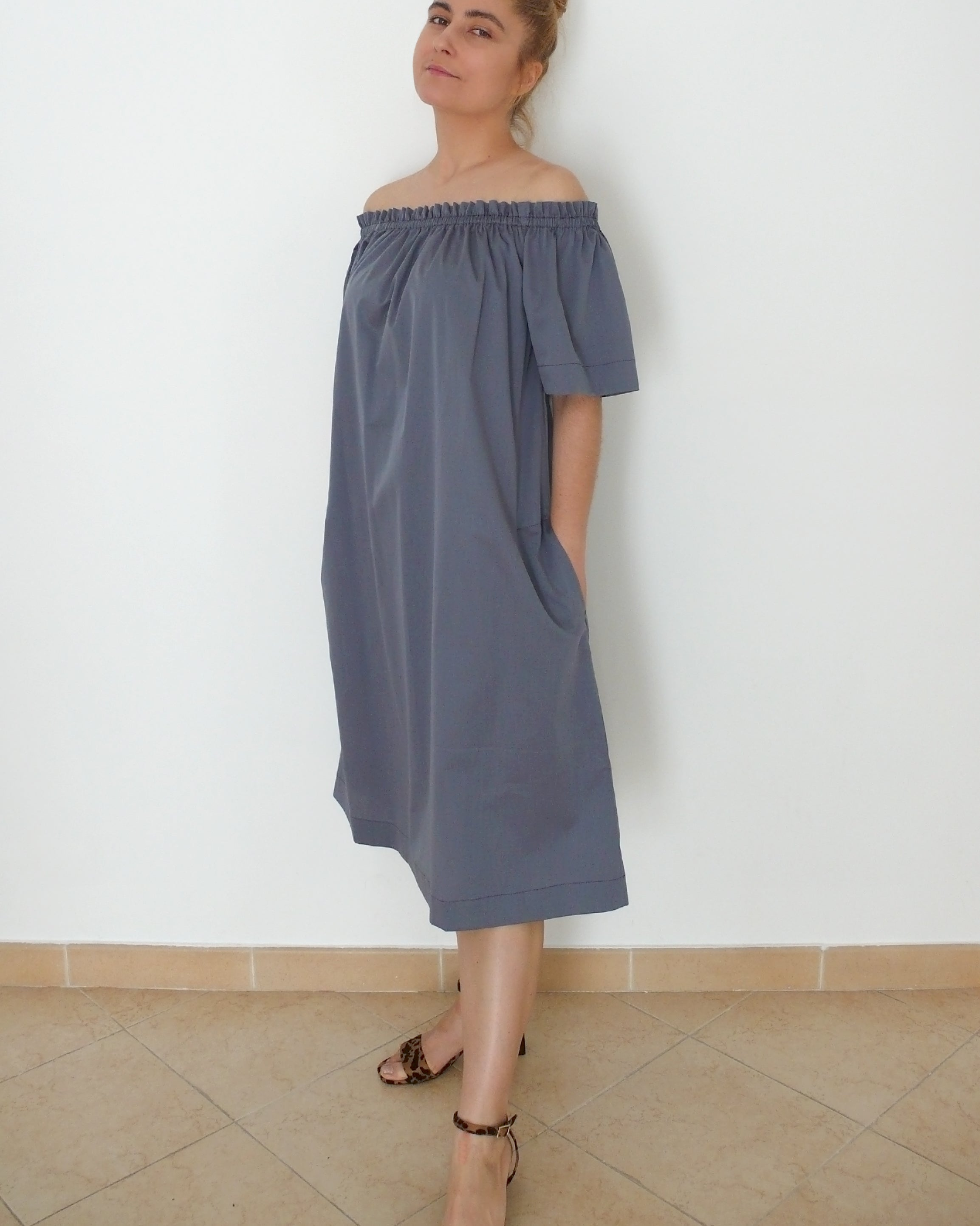 Off-shoulder Woven Summer Top or Dress with short or long sleeve and Inseam Pockets
