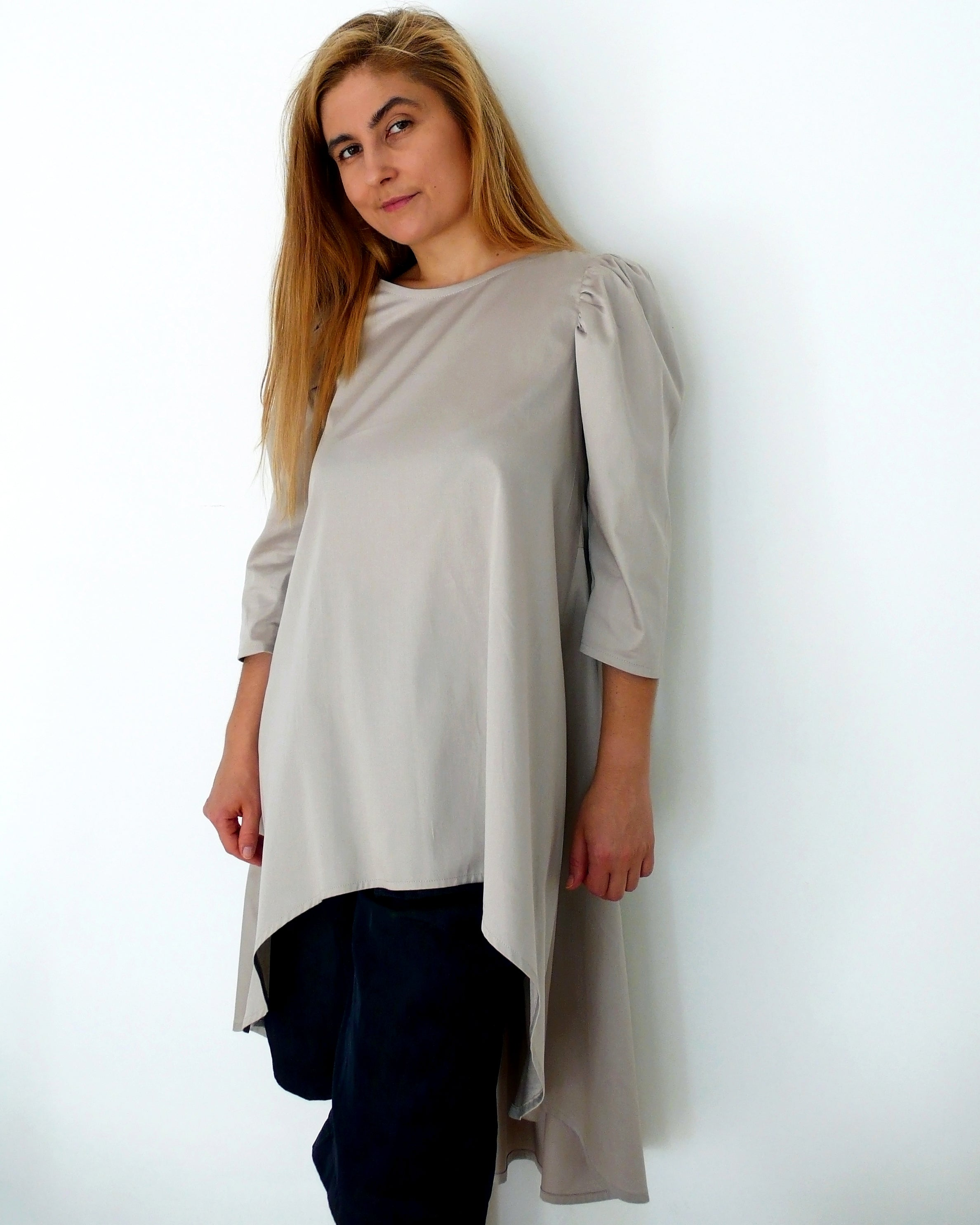 Digital Sewing Pattern N.80 - Woven loose silhouette TUNIC with puffed sleeve
