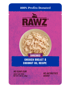 Rawz Cat Shredded Pouches Chicken Breast & Coconut Oil