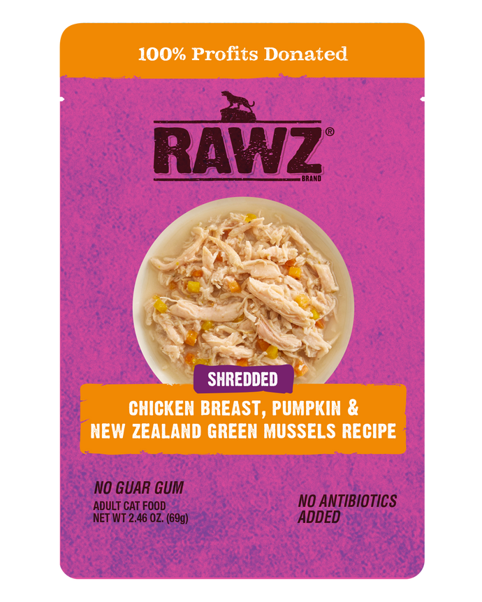 Rawz Cat Shredded Pouches Chicken Breast, Pumpkin & Green Lipped Mussels