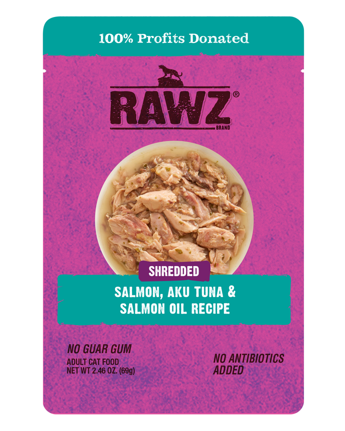 Rawz Cat Shredded Pouches Salmon, Aku Tuna & Tuna Oil
