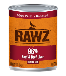 RAWZ Dog Cans 96% Beef & Beef Liver 12.5oz
