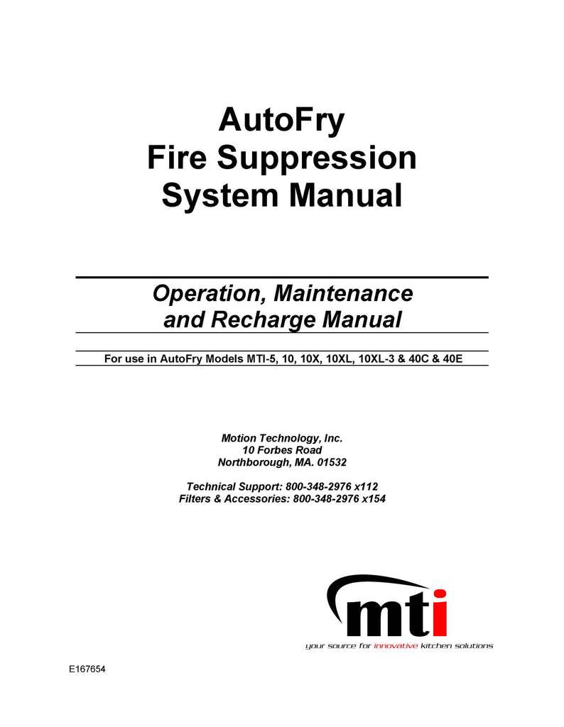 AutoFry Fire Suppression System Manual P/N: AFAMOM