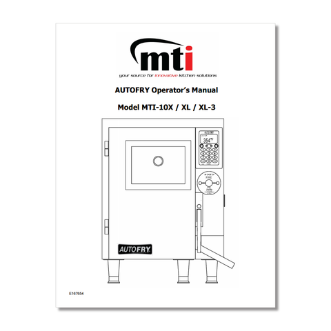 AutoFry MTI-10X Owners Manual P/N: MTI10XOM