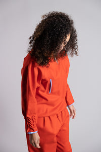 Amaryllis Red Zip Sweater with Smock Sleeves