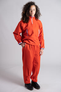 Red Double Pleated Trousers with Smock