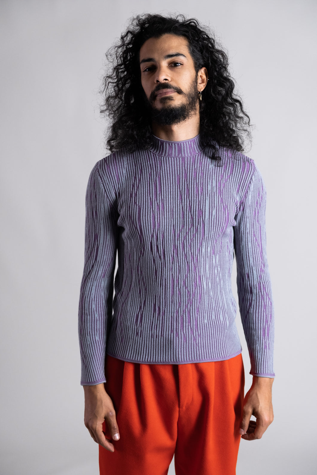 Purple-Aqua Knitted Turtleneck