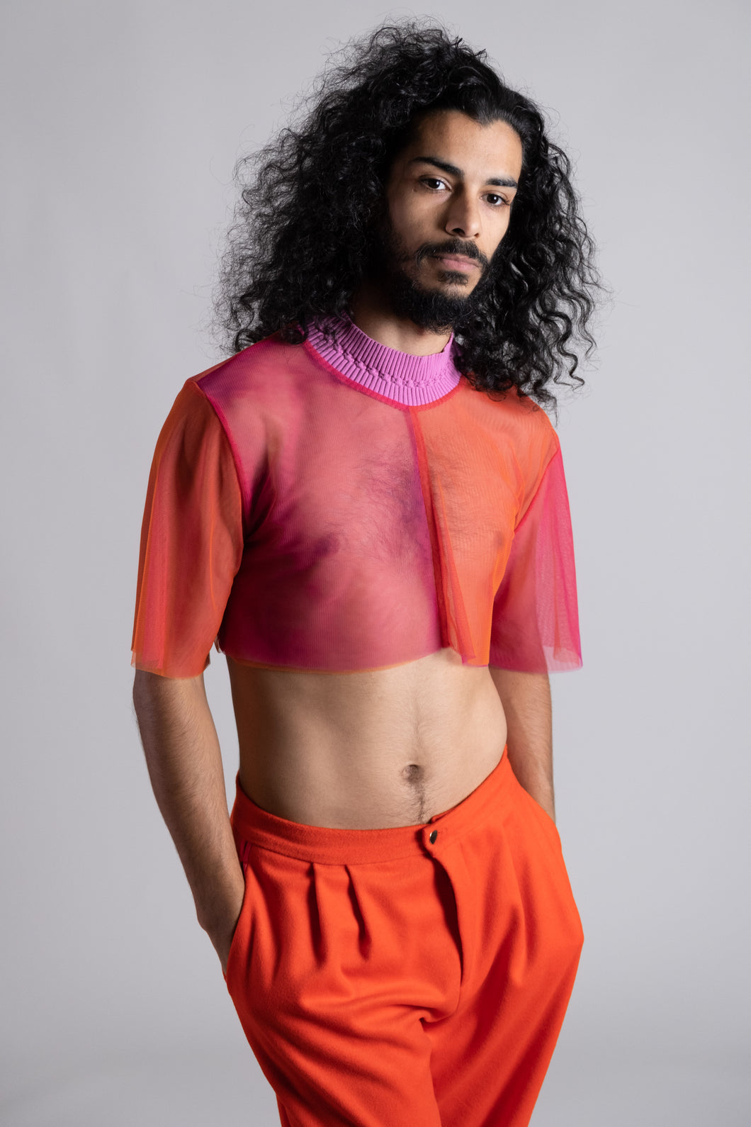 Hibiscus Red Doubler Layer Crop Top