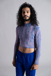 Night Blue-Purple Knitted Crop Pullover