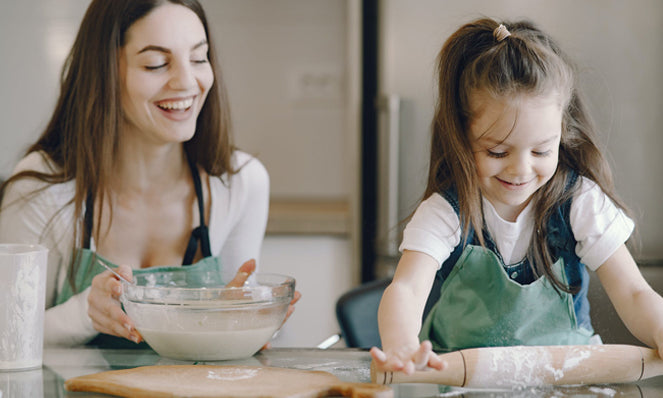 vegan eggplant recipe, mother and daughter baking, mother's day