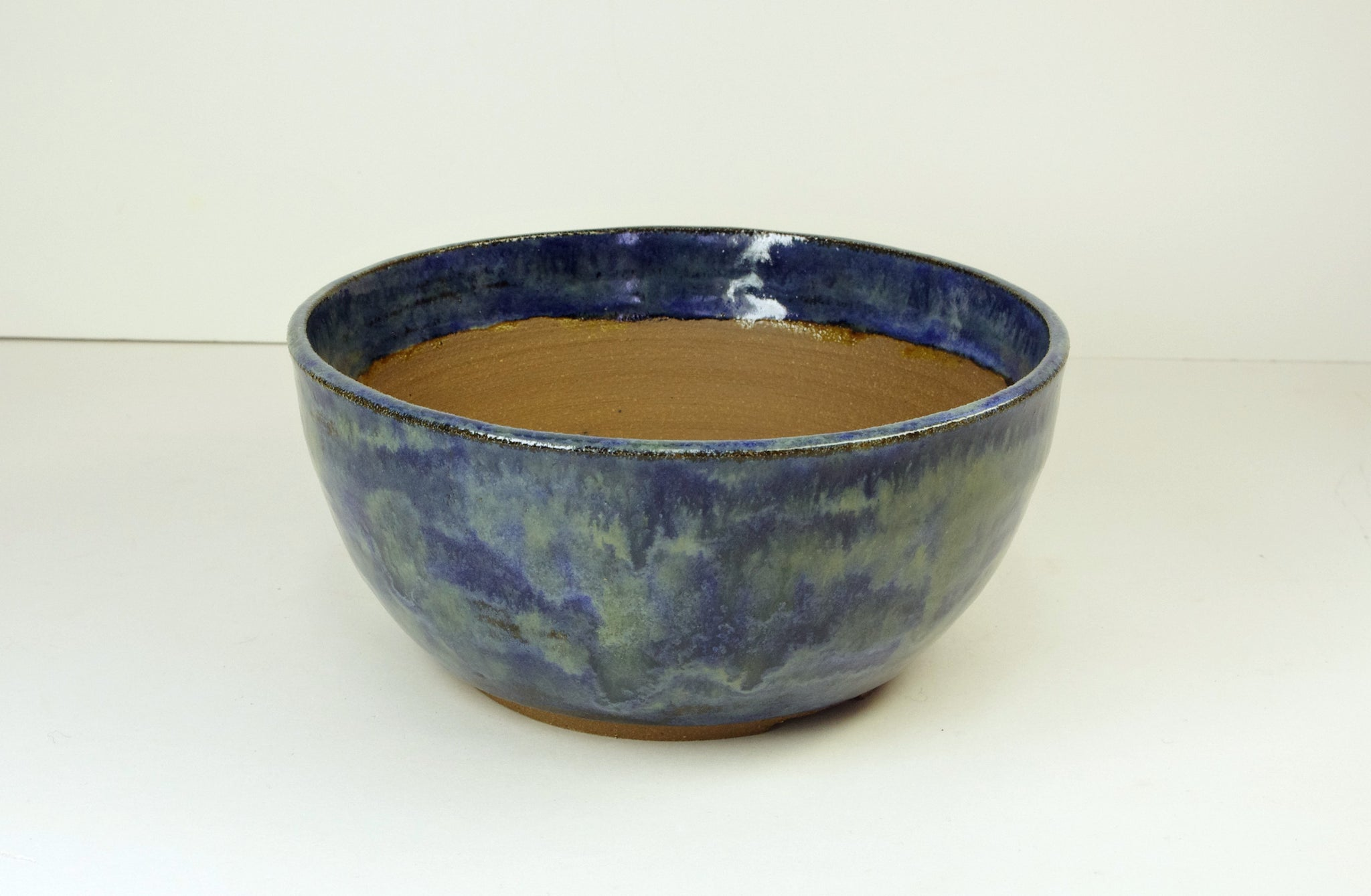 Blue Bonsai Pot Extra Wire Holes, Handmade by White Horse Pottery