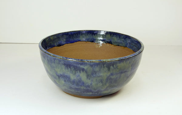 1052 Hand Thrown Stoneware Bonsai Pot, Blues, Greens 6 1/2 x 3 Extra Wire Holes