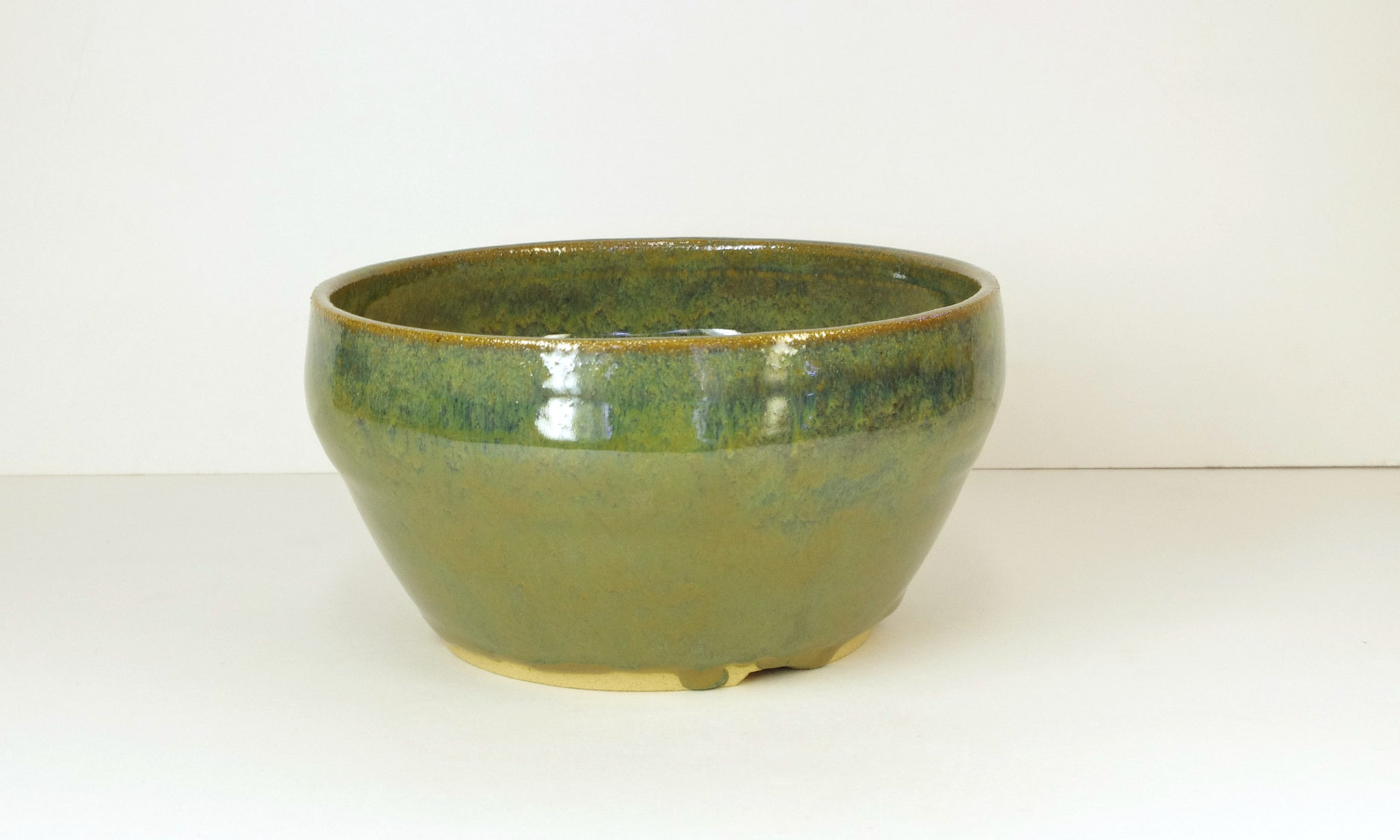 Green Hand Thrown Bonsai Pot by White Horse Pottery