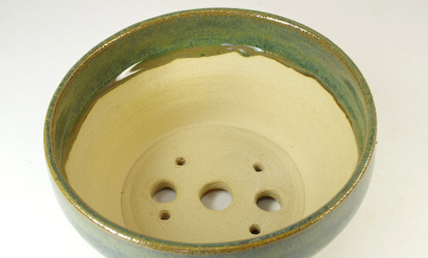 1056, Hand Thrown Stoneware Bonsai Pot, With Extra Wire Holes, Greens, 5 7/8 x 3