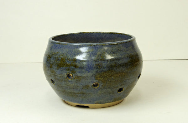 1063 Hand Thrown Stoneware Orchid Pot, 4 1/2 x 3, Blues