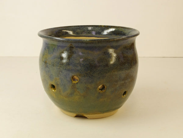 1074 Hand Thrown Stoneware Orchid Pot, 4 1/4 x 3 1/2 Blues, Tans, Browns, Greens
