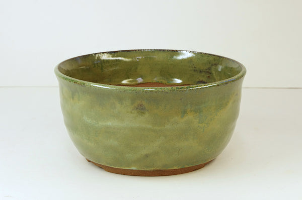 1084 Hand Thrown Stoneware Bonsai Pot,  Greens  6 1/8 x 3, With Extra Wire Holes