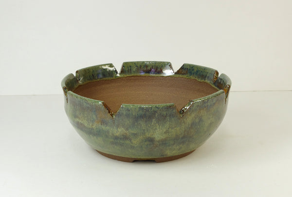 1092, Hand Thrown Stoneware Bonsai Pot, Geens, Browns, Altered Top Edge, 6 3/4 x 2 3/4 With Extra Wire Holes