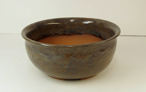 1097, Hand Thrown Stoneware Bonsai Pot, Grays, Blues, 7 x 3, With Extra Wire Holes