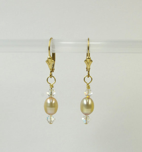 Dyed Gold Pearl Earrings, handmade by White Horse Pottery