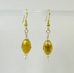 J341027 Unique Vintage Bead, Swarovski Crystal, gold plated Earrings