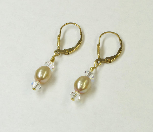 J341003 Swarovski Crystal and Dyed Gold Fresh Water Pearl  Earrings