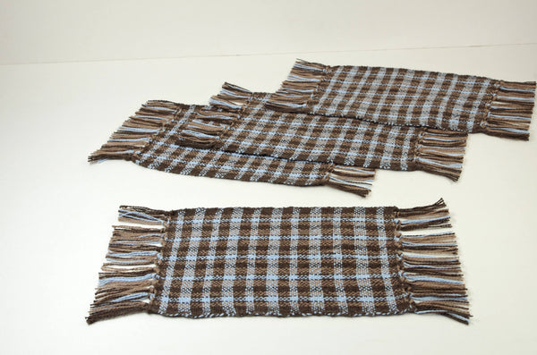 Hand Woven Mug Rugs, Blue Brown, Organic Cotton, handmade by White Horse Pottery