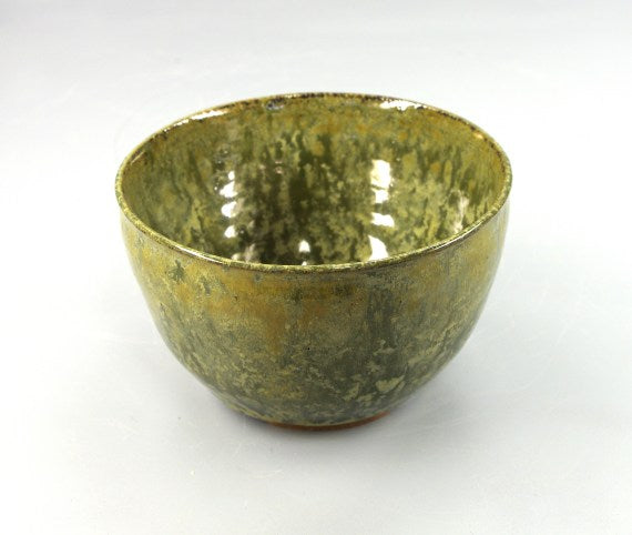 645 Hand Thrown Stoneware Bowl for Decoration, Greens