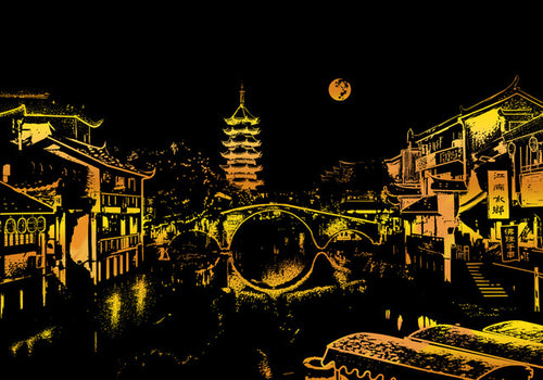Scratch Painting - Jiangnan Water Town