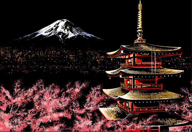Scratch Painting - Mount Fuji in Japan
