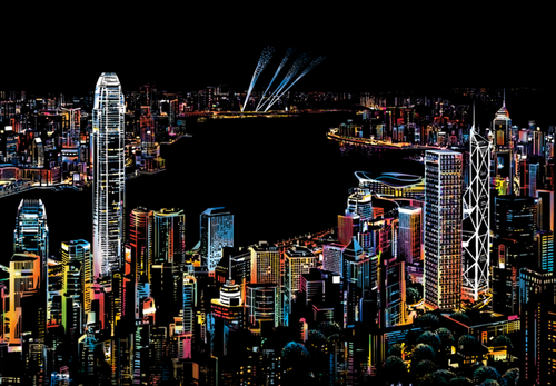 Scratch Painting - Hong Kong by night