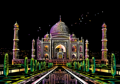 Scratch Painting - Taj Mahal mausoleum in India