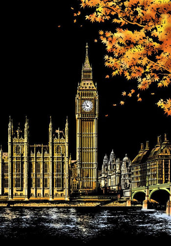 Scratch Painting - Big Ben in London