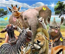 Load image into Gallery viewer, paint by numbers | African Animals | advanced animals elephants giraffes zebras | FiguredArt