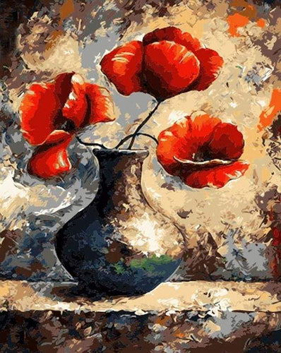 paint by numbers | Ancien vase and Red Flowers | flowers intermediate | FiguredArt