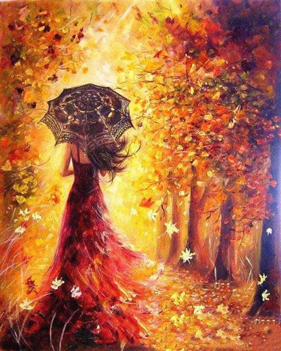 paint by numbers | Autumn Forest and Woman with Umbrella | advanced romance | FiguredArt