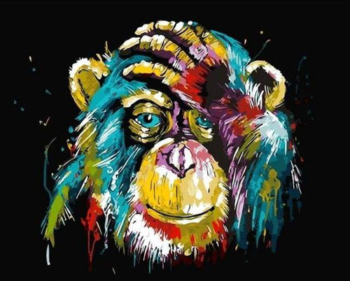 paint by numbers | Baboon Pop Art | animals intermediate Pop Art | FiguredArt