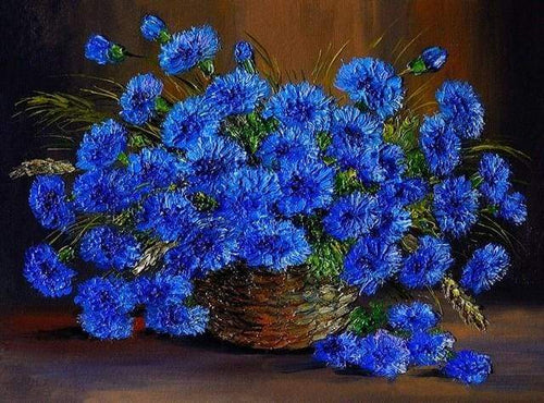 paint by numbers | Beautiful Blue Flowers | advanced flowers new arrivals | FiguredArt