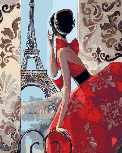 paint by numbers | Beautiful Woman and Eiffel Tower | cities easy | FiguredArt