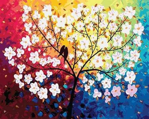 paint by numbers | Blooming Tree and Birds in Spring | flowers intermediate | FiguredArt
