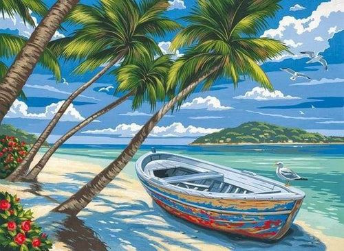 paint by numbers | Boat under the Coconut trees | easy landscapes ships and boats | FiguredArt