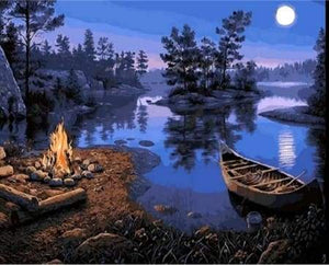 paint by numbers | Campfire | intermediate landscapes new arrivals | FiguredArt