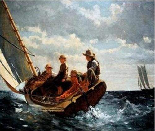 paint by numbers | Children on a Sailboat | advanced ships and boats | FiguredArt